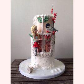 """Новогодний торт """"Фея на зимнем окне"""""""