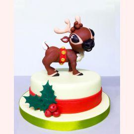 """Новогодний торт """"Олень в упряжке"""""""