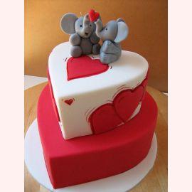 """Торт для влюбленных """"Влюбленные слоники"""""""