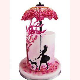 """Торт """"Дама с собачкой и зонтом"""""""