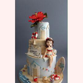 "Торт ""Красотка на пляже"""