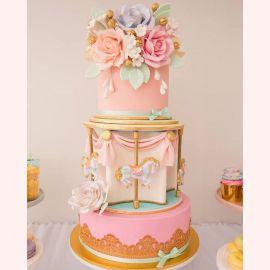 """Торт """"Карусель и пышные цветы"""""""