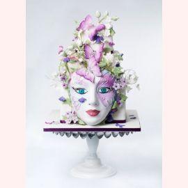 """Торт """"Маска из бабочек и цветов"""""""