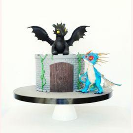 "Торт ""Беззубик и голубой дракон"""