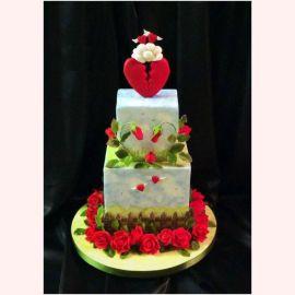 """Торт """"Красные розочки и два сердца"""""""