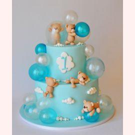 "Торт ""Веселье медвежат с шарами"""
