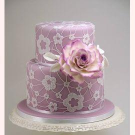 """Торт """"Сиреневый цветок и кружево"""""""