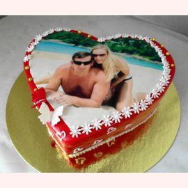 """Торт с фотопечатью """"Фото в сердце"""""""
