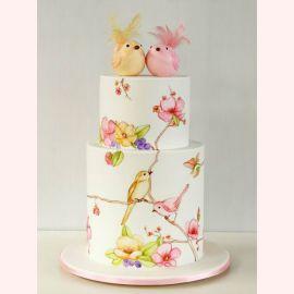 """Торт """"Влюбленные нарисованные птички"""""""