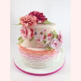 """Торт на 8 марта """"Лицо в цветах"""""""