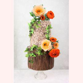 """Торт """"Оранжевые и персиковые розы"""""""
