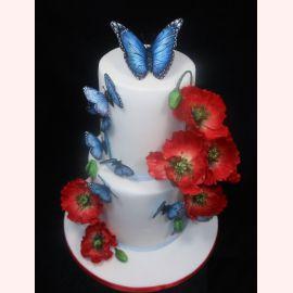 """Торт """"Голубые бабочки и маки"""""""